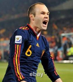 Spain 2010 FIFA World Cup Away signed player issue shirt Iniesta no match worn